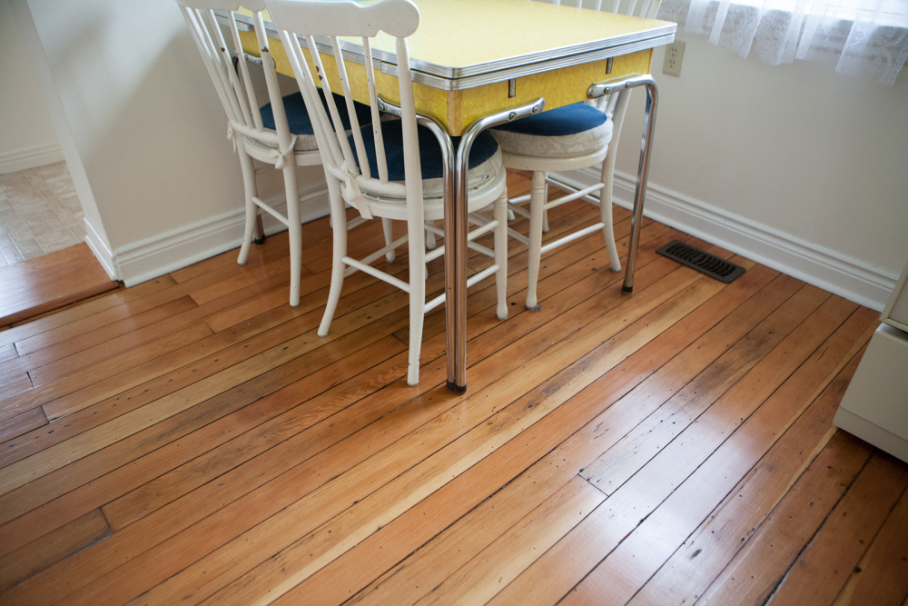 Original hardwood floors in kitchen