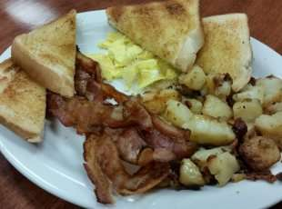 Bacon & Eggs, Campfire Potatoes & Toast Breakfast